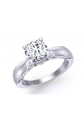 Vintage style milgrain solitaire elegant engagement 3.2mm ring 1140SOL-A 1140SOL-A