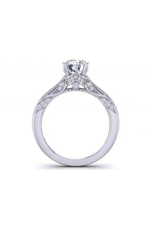 Edwardian style milgrain solitaire custom engagement 2.9mm ring 1140SOL-B 1140SOL-B