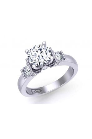 Exquisite 4-prong solitaire 3-stone engagement 3.2mm ring 1200SOL-3A 1200SOL-3A