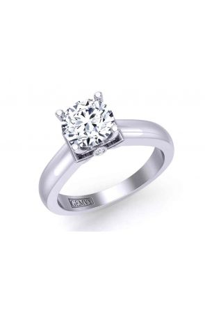 Floral 4-prong solitaire 3-stone engagement 3.1mm ring 1200SOL-C 1200SOL-C