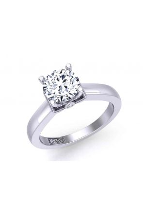 Detailed solitaire 3-stone engagement 2.5mm ring 1200SOL-E 1200SOL-E