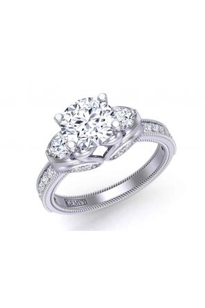 Art nouveau swan-insprired rope pattern 3-stone round 2.6mm engagement ring 1307A 1307A