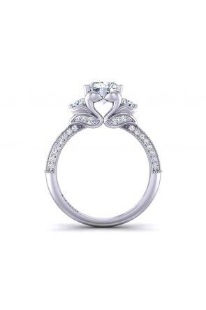 3-row diamond micro-pavé vintage  3-stone 3.2mm engagement ring 1307B 1307B
