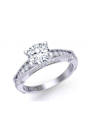 Exceptional intricate diamond encrusted Pavé 4-prong 2.5mm ring 1470S-15 1470S-15