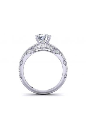 Elaborate 4-prong micro-Pavé heirloom  2.6mm engagement ring 1470S-18 1470S-18