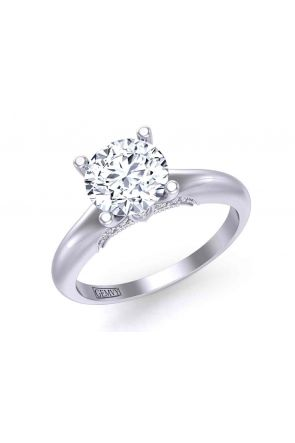 Diamond accented 4-prong solitaire unique  2mm engagement ring 1470SOL-A 1470SOL-A