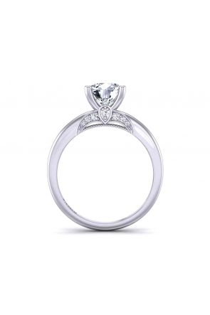 Diamond accented 4-prong solitaire unique  2.5mm engagement ring 1470SOL-B 1470SOL-B