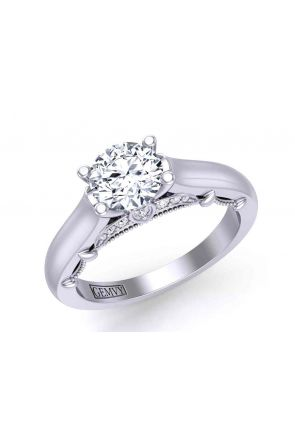 Unique 4-prong solitaire traditional cathedral 2.6mm engagement ring 1470SOL-E 1470SOL-E