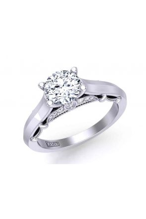 Custom designed 4-prong solitaire modern cathedral 2.3mm engagement ring 1470SOL-F 1470SOL-F