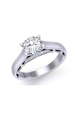 Grand 4-prong solitaire sleek cathedral 2.8mm engagement ring 1470SOL-G 1470SOL-G