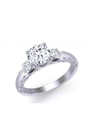 Detailed woven band round 3-stone 2.8mm engagement ring 1509-3A 1509-3A