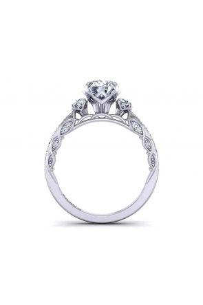 Custom designed petite band round 3-stone 2.1mm artistic ring 1509-3C 1509-3C