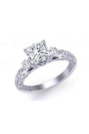 Vine inspired  Princess-cut three-stone 2.3mm engagement ring 1509-3F 1509-3F