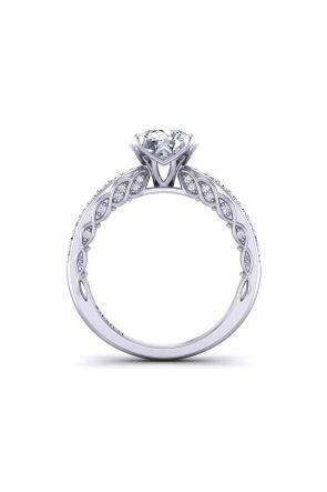 Round modern  vintage style vine inspired 2.5mm diamond ring 1509-3J 1509-3J
