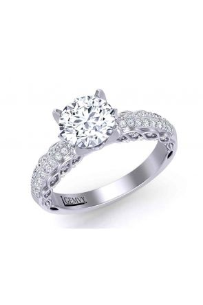 Micro-Pavé tapered shank bold 4-prong 2.9mm engagement ring 1509S-A 1509S-A