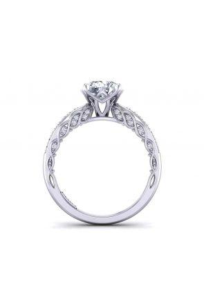 Slender graduated diamond Pavé 4-prong 2.5mm engagement ring 1509S-B 1509S-B