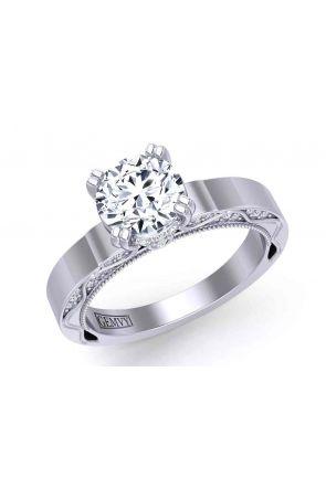 Minimalist unique diamond prong vintage style solitaire 3.4mm engagement ring 1510SOL-C 1510SOL-C