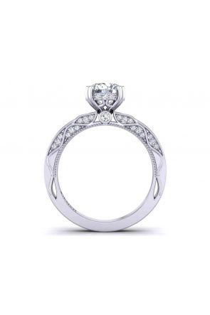 Detailed double prong ultra-modern solitaire 2.9mm engagement ring 1510SOL-D 1510SOL-D