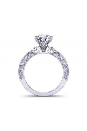 Milgrain side diamond vintage style 3-stone  2.6mm engagement ring 1510T-C 1510T-C
