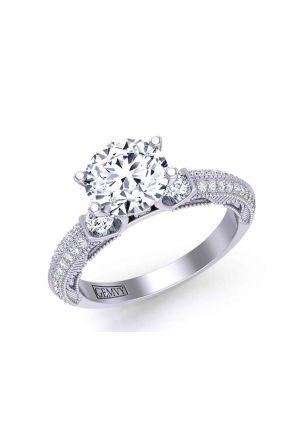 Micro-Pavé vintage style diamond  three-stone 3mm engagement ring 1510T-D 1510T-D