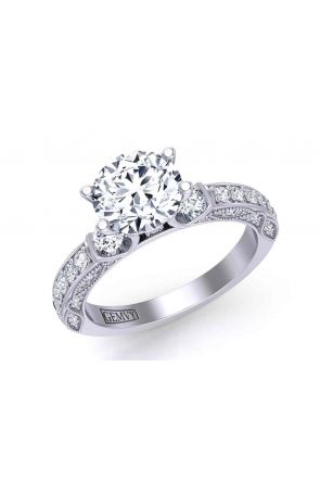 Tension set Modern vintage style  3-stone 2.8mm engagement ring 1510T-E 1510T-E