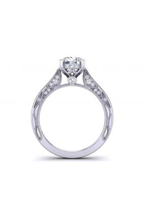 Unique double prong solitaire vine inspired 3mm engagement ring 1529SOL-B 1529SOL-B
