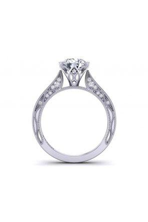 Floral vintage 4-prong solitaire 3mm engagement ring 1529SOL-D 1529SOL-D
