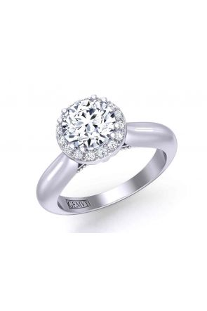 Minimalist artisan solitaire halo round 3.3mm engagement ring 1538SOL-A 1538SOL-A