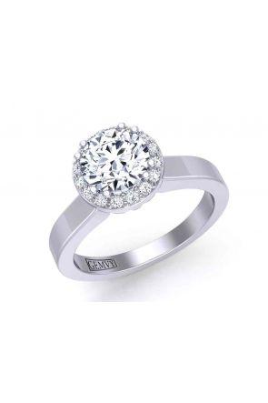 Elegant modern  plain band round halo 2.3mm engagement ring 1538SOL-B 1538SOL-B