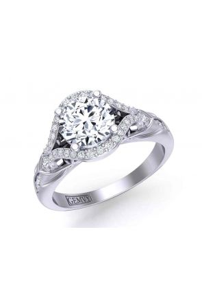 Eye-catching one-of-a-kind designer halo 2.9mm engagement ring AUTM-1317H-NH AUTM-1317H-NH-1