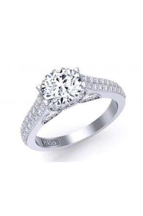 Butterfly inspired micro pavé two-row diamond engagement ring BUTTERFLY-1263-B BUTTERFLY-1263-B