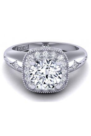 Custom vintage style halo diamond ring HEIR-1129-B HEIR-1129-B