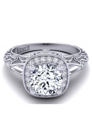 Vintage style rollover halo engagement ring HEIR-1129-C HEIR-1129-C