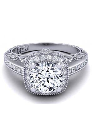 Unique vintage style channel set filigree engagement ring HEIR-1129-E HEIR-1129-E
