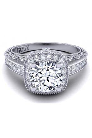 pavé channel edwardian style diamond engagement ring setting HEIR-1129-F HEIR-1129-F