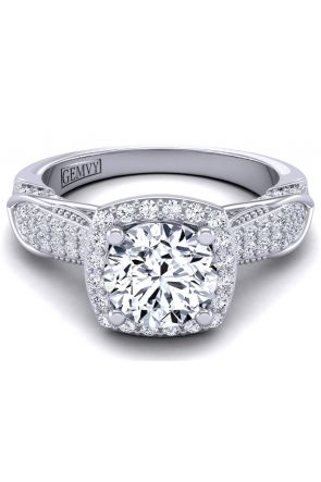 Filigree vintage halo diamond pavé engagement setting HEIR-1140-A HEIR-1140-A