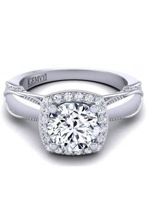 Plain band antique style halo diamond engagement ring HEIR-1140-G HEIR-1140-G
