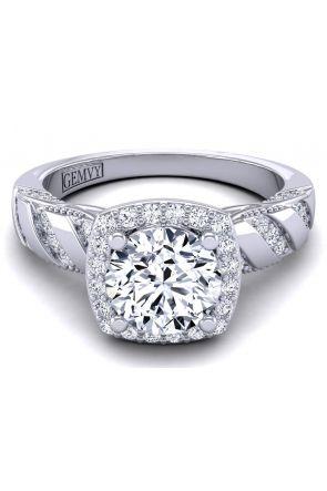 Rare victorian style halo engagement ring HEIR-1140-J HEIR-1140-J