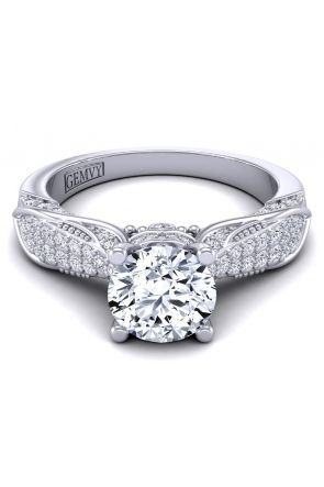 Filigree vintage surface pavé engagement setting HEIR-1140S-AS HEIR-1140S-AS