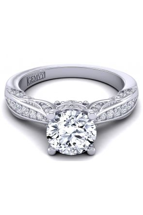 Edwardian vintage style pavé engagement ring setting  HEIR-1140S-BS HEIR-1140S-BS