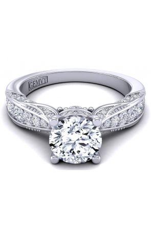 Tapered pavé antique style custom engagement ring HEIR-1140S-CS HEIR-1140S-CS