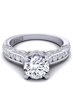 Channel set antique style round diamond 14k gold setting HEIR-1140S-DS HEIR-1140S-DS
