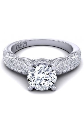 Two row surface pavé bold modern vintage style ring HEIR-1140S-ES HEIR-1140S-ES