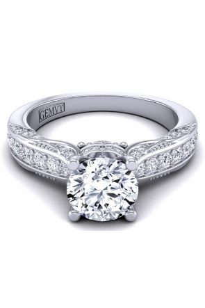 Filigree vintage style cathedral  engagement ring HEIR-1140S-GS HEIR-1140S-GS