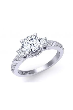 One-of-a kind vintage inspired three-stone engagement setting HEIR-1345-3B HEIR-1345-3B