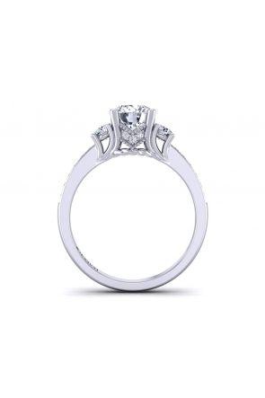 Designer Vintage style pavé 3-stone diamond ring HEIR-1345-3C HEIR-1345-3C