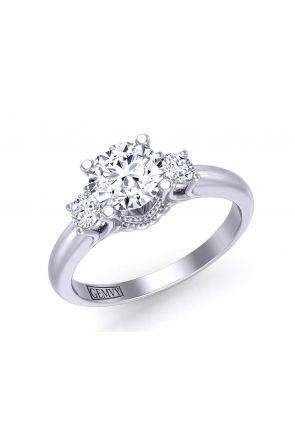 Solitaire vintage 3-stone round-cut diamond engagement ring HEIR-1345-3D HEIR-1345-3D