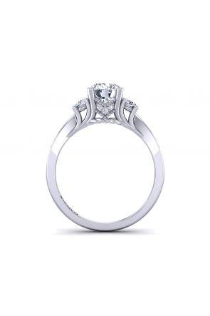 Unique tapered band pavé set round 3-stone engagement ring HEIR-1345-3E HEIR-1345-3E