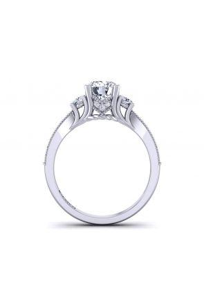 Vintage Style 3-stone round diamond engagement ring. HEIR-1345-3F HEIR-1345-3F