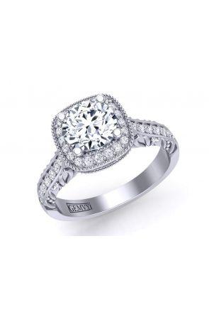 Filigree antique style milgrain halo engagement ring HEIR-1345-HA HEIR-1345-HA